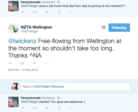 When I landed I could see real time information on the @NZTAWgtn account and decided to drive home as a result.