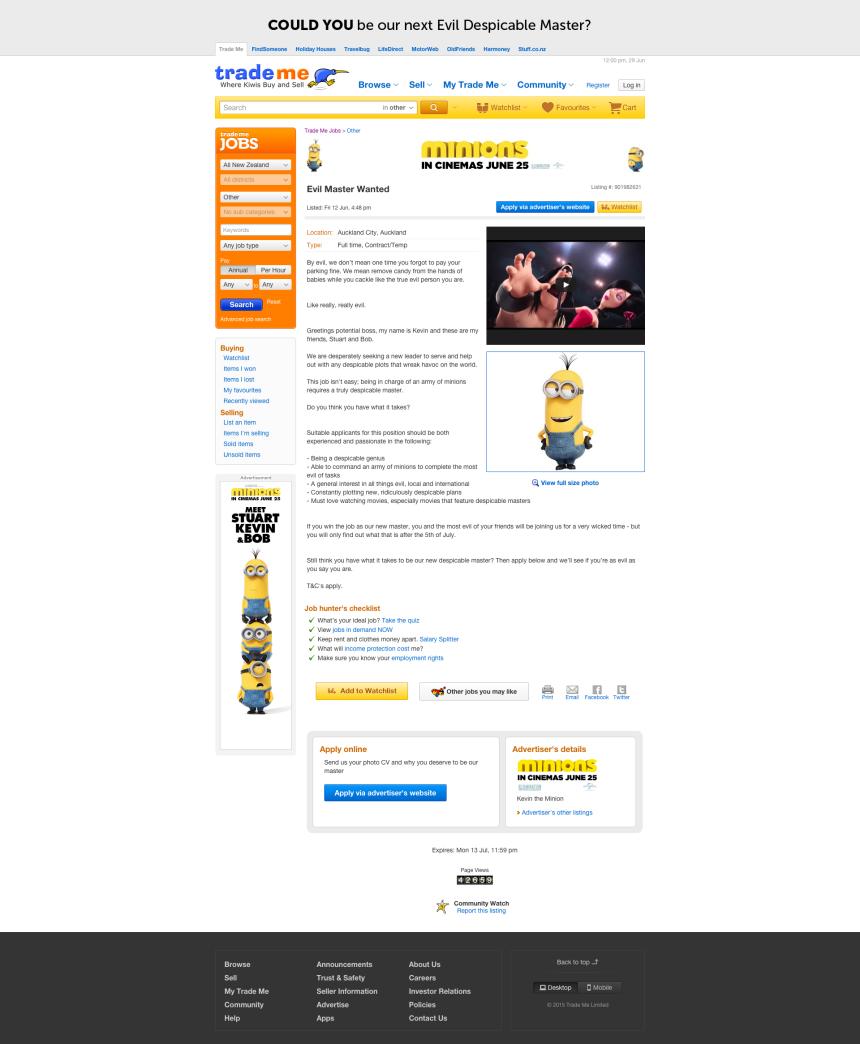 Minions_TradeMe_Job Ad